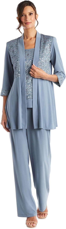 R/&M Richards Womens Lace Pant Set