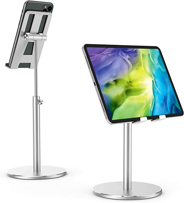 "SLEYE Cell Phone Holder for Desk,Universal Tablet Stand Height and Angle Adjustable Desktop Phone Stand Sturdy All Aluminum Alloy Phone Holder Compatible with 4""-10.5"" Phones/iPad/Kindle/Tablet"