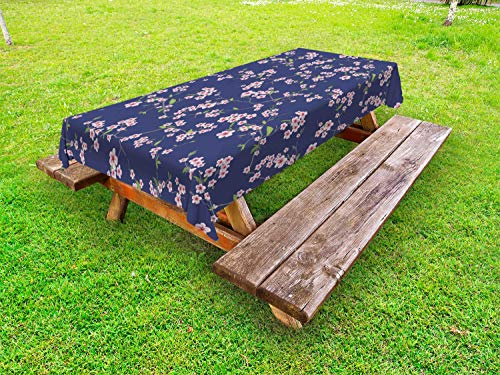 Ambesonne Japanese Outdoor Tablecloth, Blooming Sakura Cherry Branches Chinese Asian Oriental Kimono Pattern, Decorative Washable Picnic Table Cloth, 58 X 84 Inches, Purple Rose Fern Green