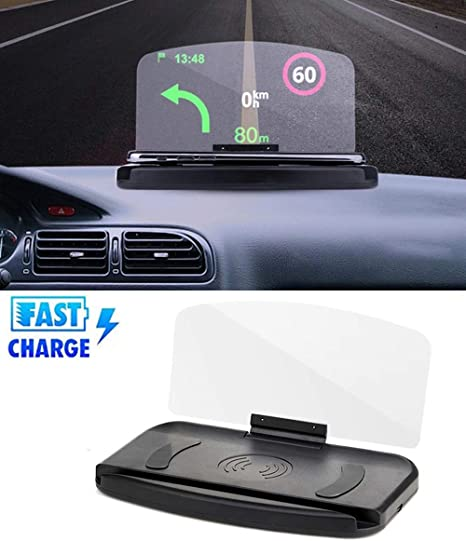 HYGLPXD 10W Cargador de Coche Inalámbrico Head-Up Display GPS ...