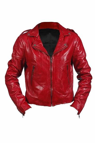 Brando motorista real 100 % Rojo del cuero de Nappa corta la roca del Chaqueta de las mujeres adelgazan: Amazon.es: Ropa y accesorios