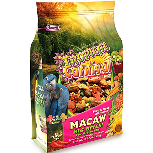 Walnut Bites - F.M. Brown'S Tropical Carnival Gourmet Macaw Food Big Bites For Big Beaks - Vitamin-Nutrient Fortified Daily Diet With Probiotics For Digestive Health