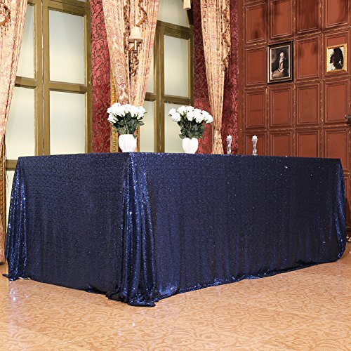 Eternal Beauty 48'' X 72'' Navy Blue Sequin Tablecloth Wedding Banquet Party Rectangle Table Cover for $<!--$15.95-->