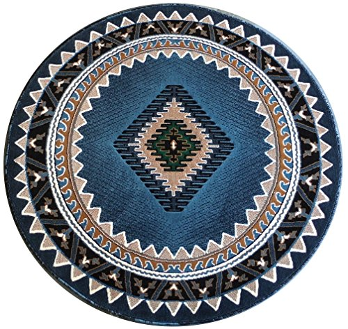 South West Native American Round Area Rug Design #143 Blue (5 Feet X 5 Feet)