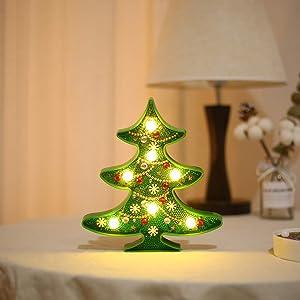 Pannow DIY Diamond Painting Night Light, Colorful 5D Full Drill LED Lamp Kit Xmas Tree Desktop Ornament for Christmas Home Decoration Gift,Tree