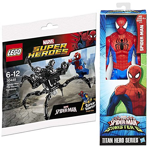 Spider-Man Marvel Titan Sinister 6 Action Figure & LEGO Marvel Heroes Spider-Man vs. The Venom Symbiote minifigure comes with the Super Jumper attachment