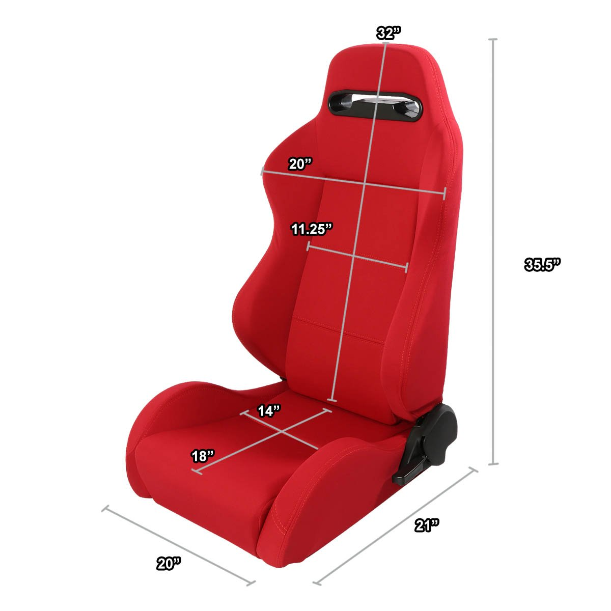 Pair of Full Reclinable Red Cloth Type-R Racing Seat+Adjustable Sliders