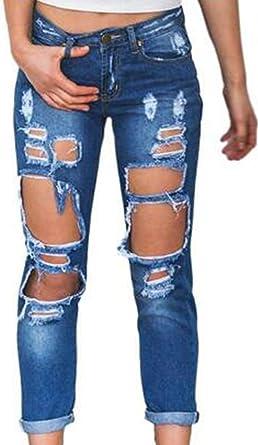 Zonsaoja Mujer Vaqueros Agujero Rotos Casual Suelto Denim Pantalones Jeans Amazon Es Ropa Y Accesorios