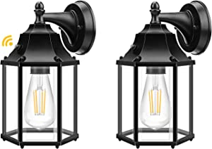 Outdoor Wall Lights with Dusk to Dawn Sensor, Porch Light Fixture Anti-Rust Exterior Waterproof Wall Sconce, Led Outdoor Light Fixtures Wall Mount with LED Bulb for Doorway, Entryway - 2 Pack