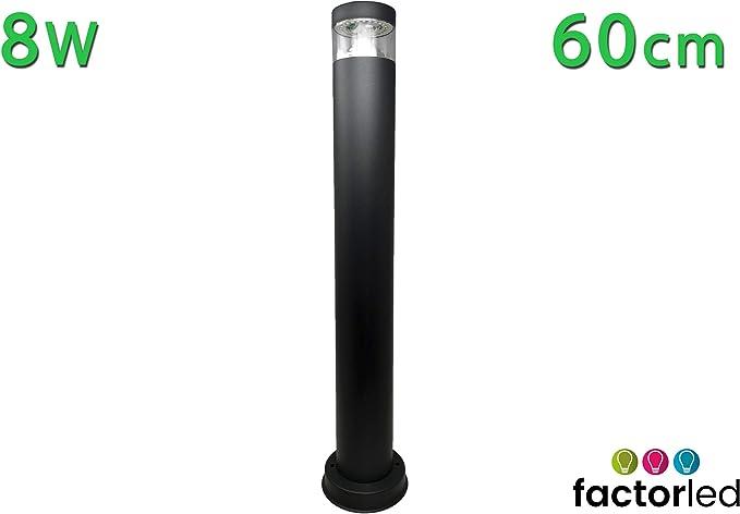 FactorLED Baliza de suelo LED 8W, Lámpara Exterior IP44, 60 cm, Poste circular, Iluminación para Jardín, Porche, Camino, Piscina, Luz Natural 4000K [Clase de eficiencia energética A+]: Amazon.es: Iluminación