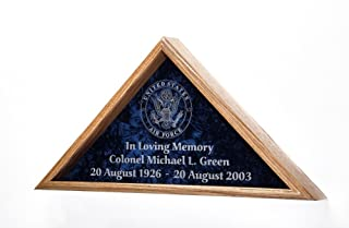 product image for All American Gifts Veteran Burial Flag Display Case w/Military Emblem - Includes 3 Lines of Text Personalization! - for 5'x9.5' Coffin/Casket Flag - Solid Oak (USAF Emblem - Air Force)