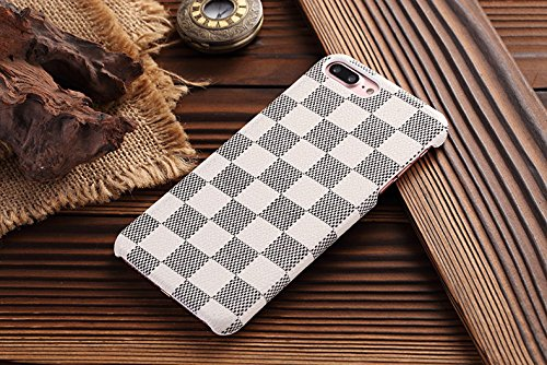 HeiL iPhone 7Plus 8Plus TPU (US Deliver Guarantee Fulfilled by Amazon) New Elegant Luxury PU Leather Checker Pattern Classic Style Cover Case for Apple iPhone7PLUS iPhone8PLUS (White)