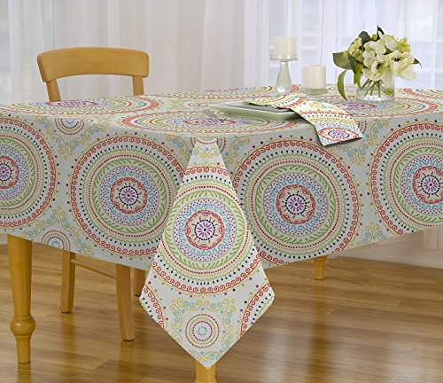 Circle Stitch Contemporary Print Indoor/Outdoor Soil Resistant Fabric Tablecloth - 70 Inch Round Tablecloth, Multi ()