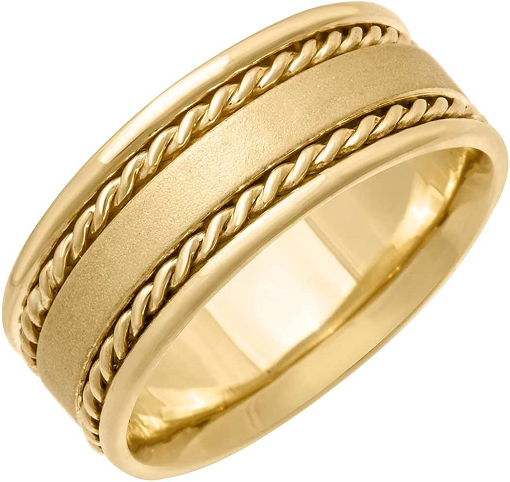 14K Yellow Gold Braided Rope Edge Men's Comfort Fit Wedding Band (8mm)