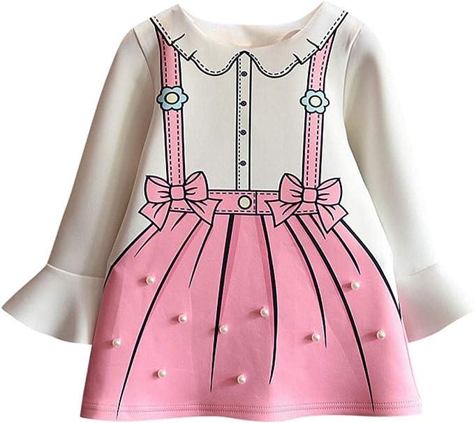 KONFA Toddler Baby Girls Letter Print One-Piece Dress,Suitable For 0-3 Years Old,Little Princess Short Sleeve Skirt Set