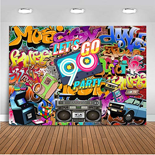 Mocsicka Let's Go 90s Party Theme Backdrop Vintage Graffiti Wall Background Birthday Party Background 7x5ft Vinyl Adult Dance Background Photo Booth Banner Decorations Props]()