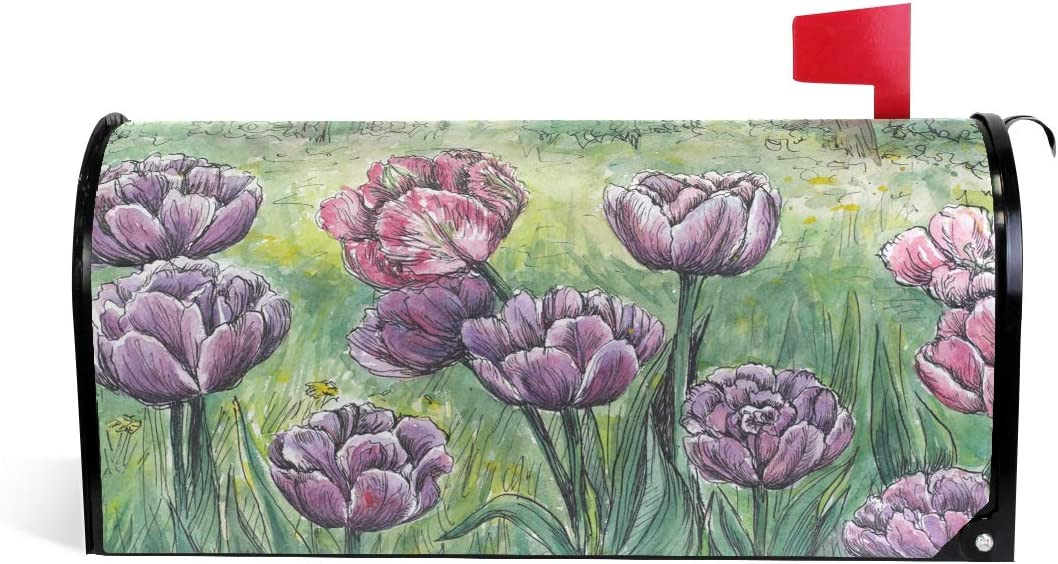 """Alaza Woor Spring Beautiful Pink And Purple Tulips Flower Magnetic Mailbox Cover Mailwraps Garden Yard Home Decor For Outside Standard Size-18""""X 20.8"""""""
