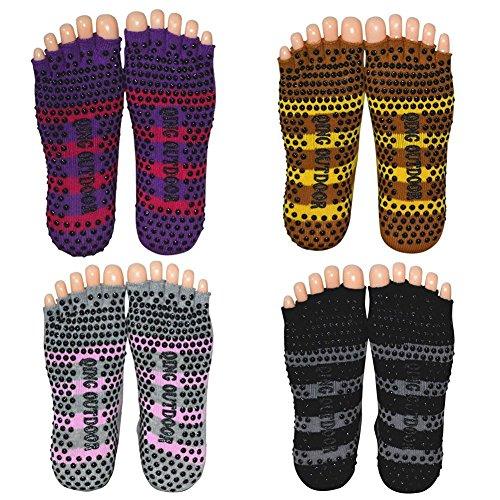 Women's Cotton Toeless Yoga Pilates Non Skid Socks Perfect for Yoga Pilates Barre Fitness Studio Workout Dance Travel Pack of 4