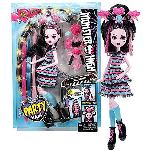 Mattel Year 2016 Monster High Party Series 11 Inch Doll Set - Party Hair DRACULAURA Daughter of Dracula with 30 Accessories, Style Sheet & Doll Stand (Monster High Party Set)