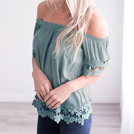 Blouse for Womens, FORUU Ladies Cold Shoulder Sexy Lace Short Sleeve T Shirts at Amazon Womens Clothing store: