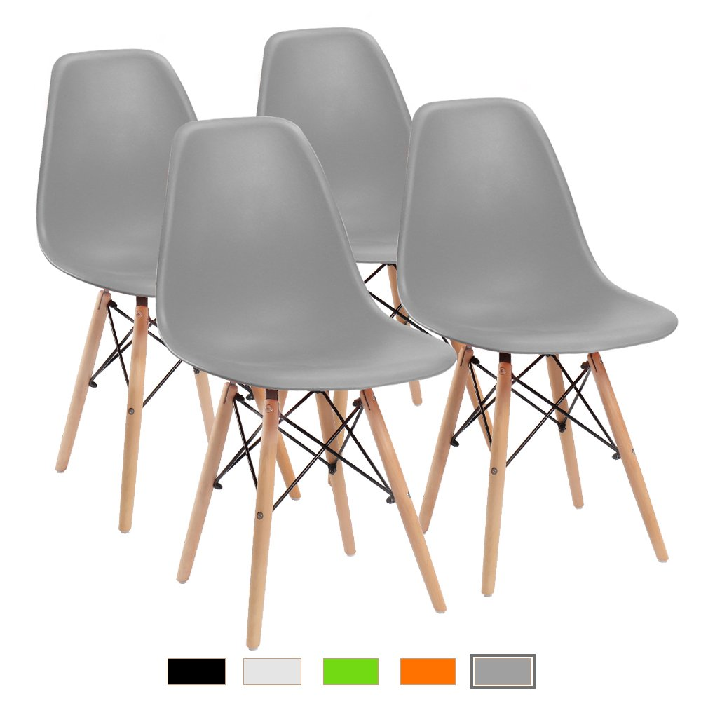 Furmax Pre Assembled Modern Style Dining Chair Grey Pre Assembled Mid Century Modern DSW Chair, Shell Lounge Plastic Chair for Kitchen, Dining, Bedroom, Living Room Side Chairs(Set of 4)