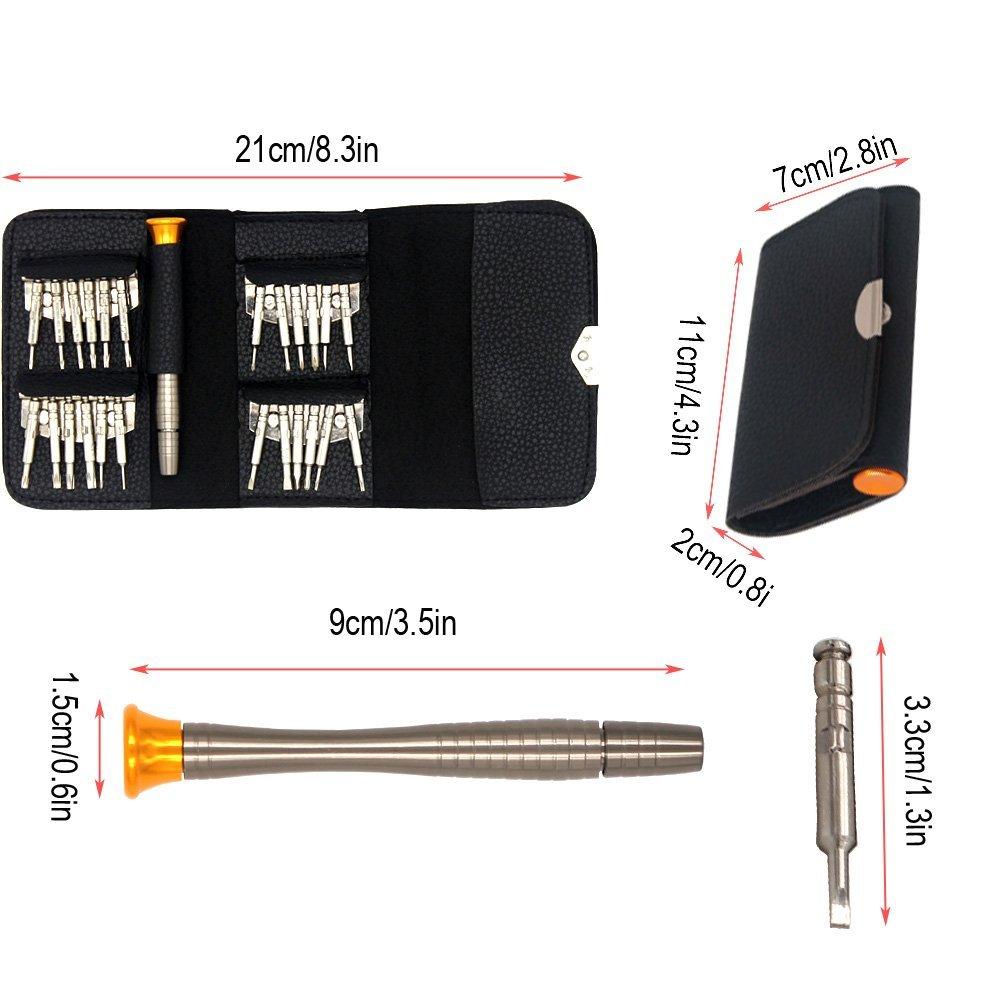Autoschl/üssel Mini Schraubendreher geeignet f/ür die Wartung: Handy KINYOO0 25-teilig Schraubenzieher Set Uhr mit schwarzer Tasche. Tablett iPad PC Laptop