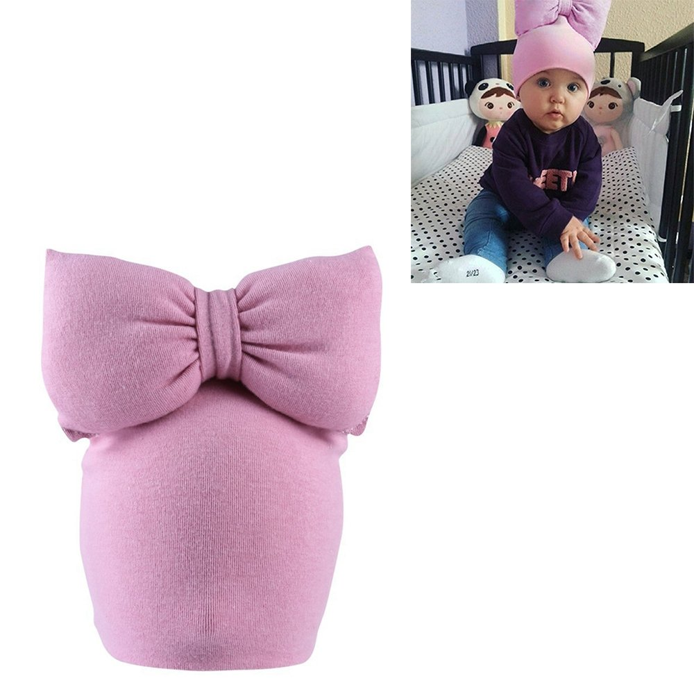 Refaxi Cute Pink Newborn Baby Infant Girl Toddler Comfy Bowknot Cotton Cap Beanie Hat