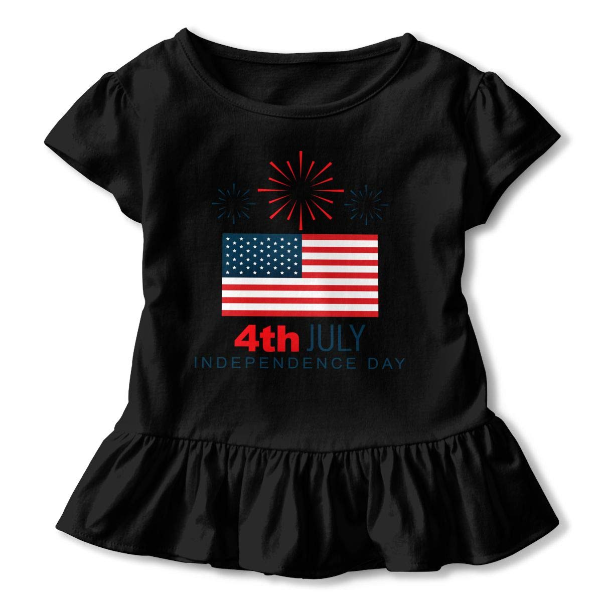 JVNSS Declaration-of-Independence Printed Kids Flounced T Shirts Graphic T-Shirt for 2-6T Kids Girls