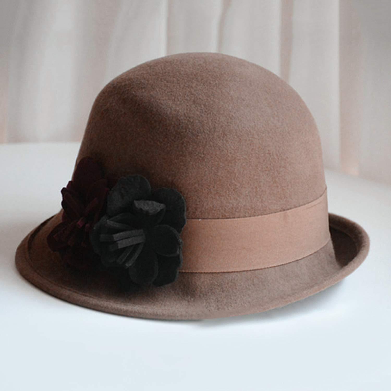 Fashion Women Fedora Vintage Wool Felt Hat Elegant Asymmetric hat Brim Style Flowers Hat Winter Warm Cap