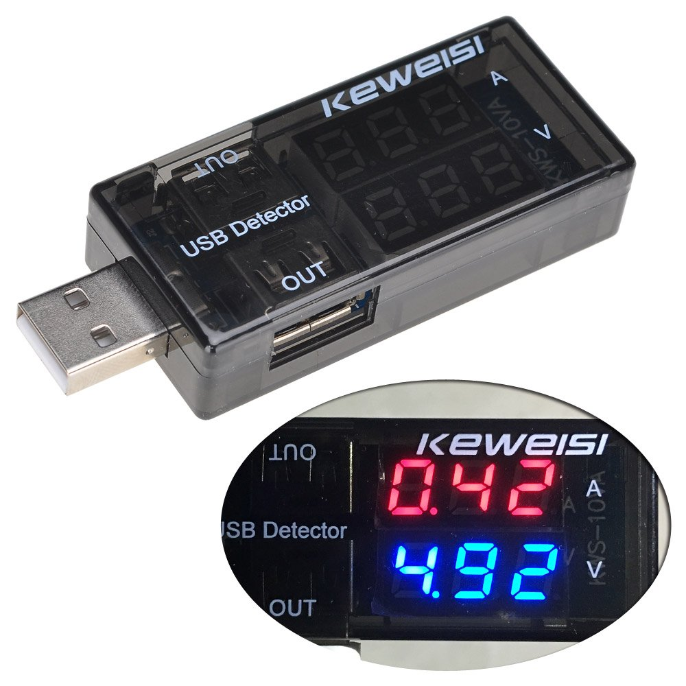 Lysignal Dual USB Charger Tester Meter USB Multimeter USB Current Voltage Tester Meter USB Voltmeter Ammeter Detector Double Row Shows LYCHEE LIMITED