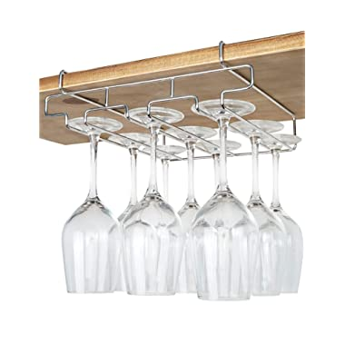 "Bafvt Wine Glass Holder - 3 Rows Stemware Rack Under Cabinet - 304 Stainless Steel Hanger Storage Shelf, Fit for The Cabinet 0.8"" or Less"
