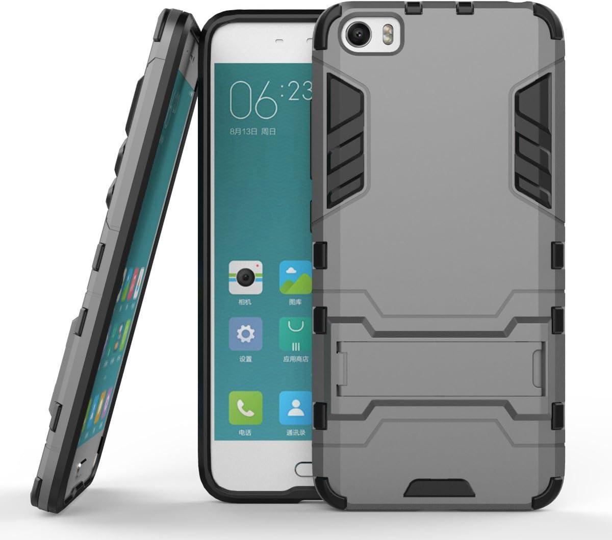 Ycloud Funda Libro para Xiaomi Mi5 teléfono Strongest a Prueba de Golpes Armadura Doble protección de Concha Protectora de Duro Soporte Cubierta Protectora Gris