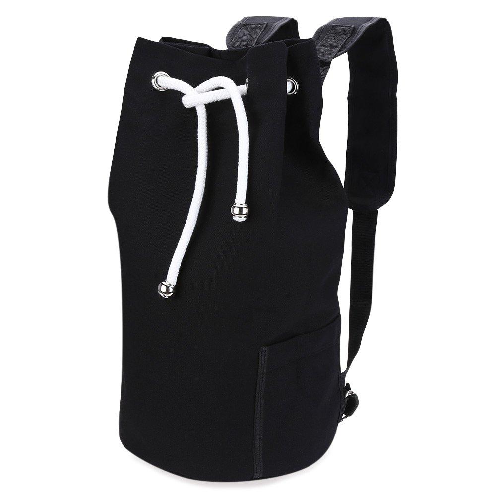 Gym Yoga Sports School Travel Lightweight Drawstring Bag Backpack,Drawstring Canvas Bag,Unisex Casual (large, army green) hwalker