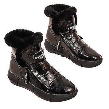 Botas Botines Impermeables de Cuero Botines Impermeables Nieve Calzado de Mujer Calzado de algodón Calzado Deportivo Exterior Calzado Casual Calzado de ...