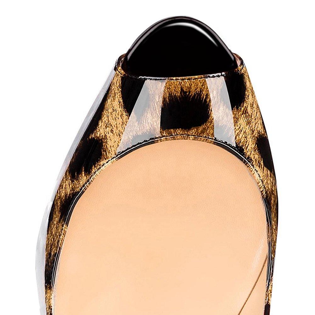EKS Damen Peep Toe Heels Slingbacks Pumps Plateau High Heels Toe Damenschuhe Plus Größe 35-46 Schwarz-leopard dbb880