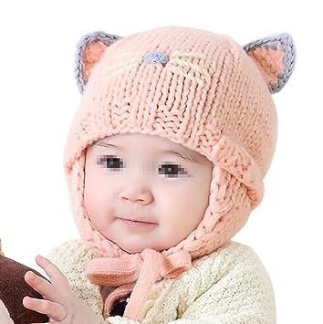 ab13ea41f1e1 TININNA Mignon Mode Tricot Crochet Hiver Chaud Chapeau Bonnet Chat Cache  Oreille Beanie Capuchon Casquette Calotte