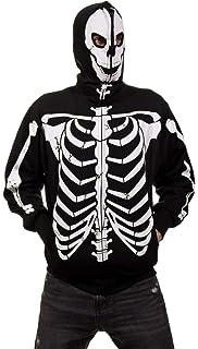 Amazon Com Full Zip Up Glow In The Dark Red Skeleton Sweatshirt