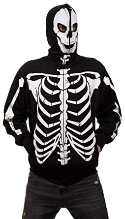 f254bfe0d2ca Amazon.com  Calhoun Men s Glow in The Dark Skeleton Costume Zip ...