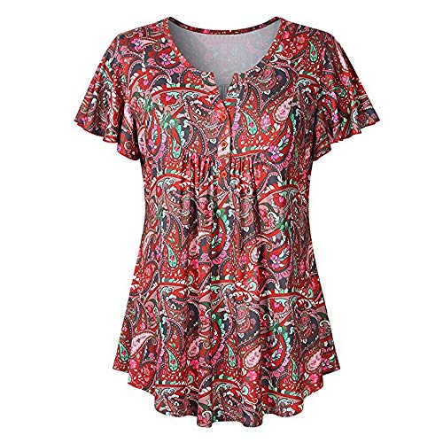 Sunmoot Clearance Sale Women's Flowy Front Pleated Blouses,Summer Short Sleeve Tunic Printed Flared Comfy Loose Shirt