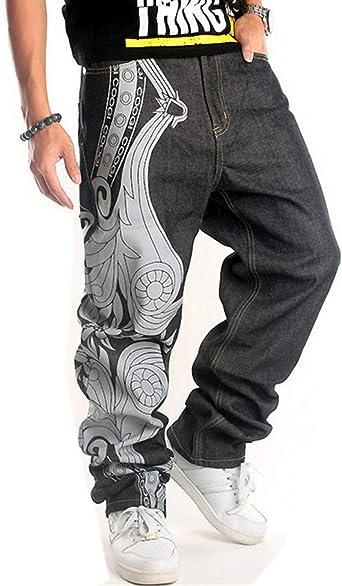Amazon Com Qbo Pantalones Vaqueros Holgados Para Hombre Con Bordado Hip Hop Clothing