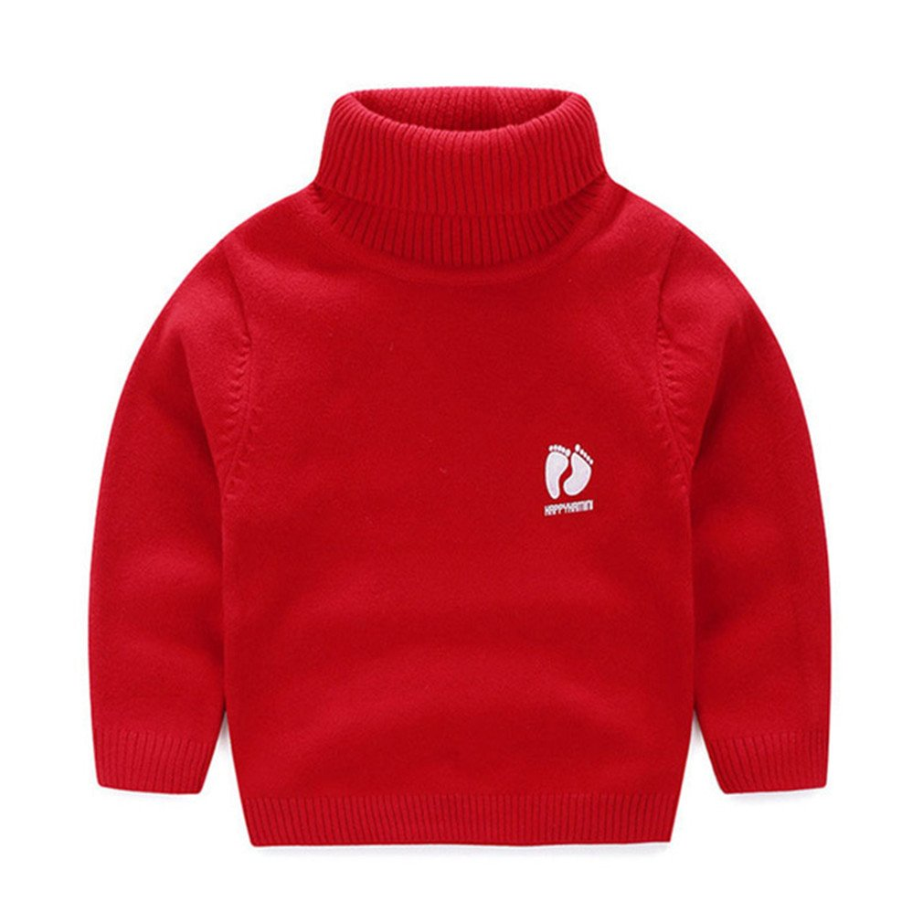 Winyersnow Kids Children Sweaters Turtleneck Knitted Sweaters Cardigan Clothes Red 6T