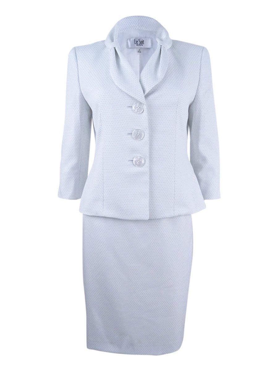 Le Suit Women's Petite Bow-Collar Dot-Print Skirt Suit (12P, White/Bali Blue)