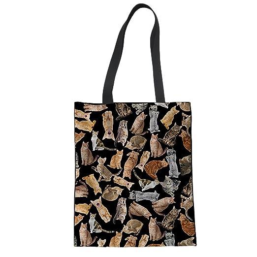 Coloranimal College Student Teacher Bookbag Cute Cat Puzzle Linen Tote Bag 0dd2dea141