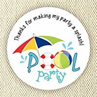 Thank you for my Party a Splash Labels - Pool Party favor stickers - Summer Party Stickers
