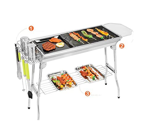 Portable Folding Charcoal Grill With Fry Pan, Utensil Rack,placing  Plate,food Shelf