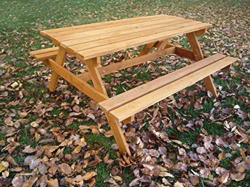 Tierra Garden G19065 Wooden Picnic Table Bench Lawn