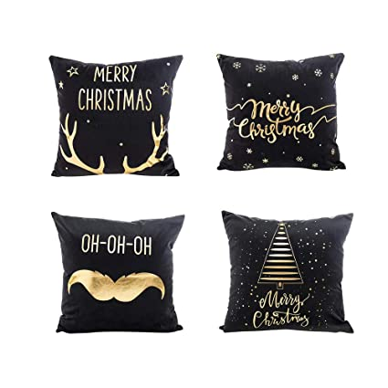 Pillow Covers 18x18 Set of 4,Wakeu Cushion Case with Zipper 18x18,Merry Christmas Decorations (10)