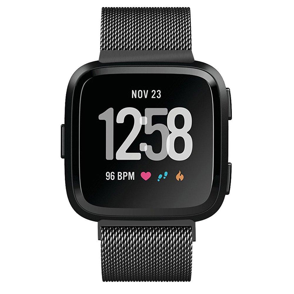 JiaMeng Para Fitbit Versa, imán Pulsera de Lujo de Acero Inoxidable Correa de muñeca Correa de Reloj Banda magnética milanesa del Lazo(Negro): Amazon.es: ...