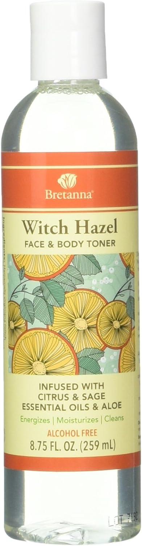 Bretanna Witch Hazel Face and BodyToner Citrus Sage, Infused Essential Oil of Aloe and Sage 8.75 fl oz