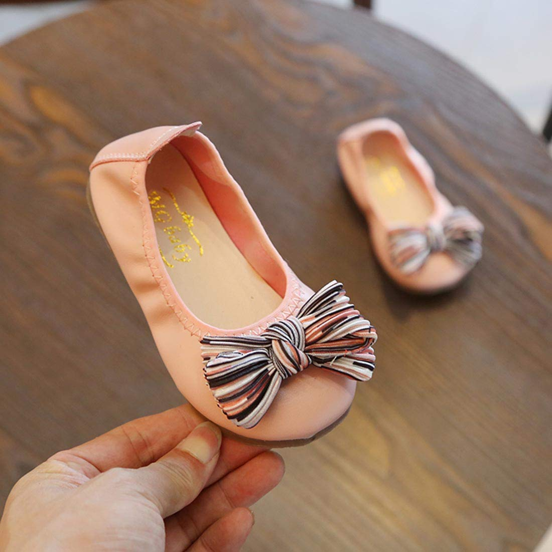 Toddler//Little Kid JTENGYAO Toddler Baby Girls Mary Jane Ballet Flats with Bow Slip on Wedding Party Dress Shoes